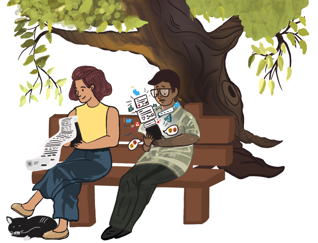 A woman and man sit on a bench under a tree.